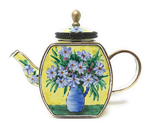 (Kelvin Chen White Daisies Enameled Miniature Teapot with Hinged Lid, 4.25 Inches Long )