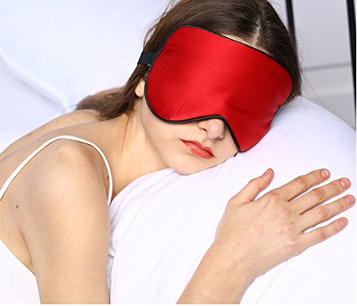 Price comparison product image Adbama® 100% Top Quality Natural Silk Sleep Mask & Blindfold, Super Smooth Eye Mask with Adjustable Strap, Perfect for Traveling, Flight, Nap or Yoga (Red)