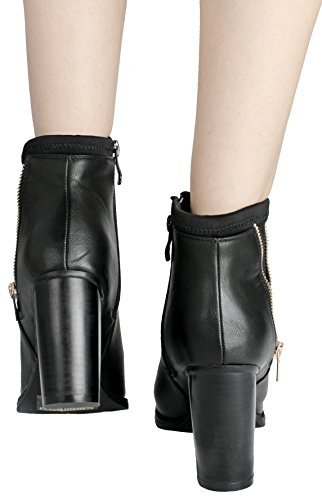 Jjf Zapatos Mujer Cuff Design Golden Zipper Decor Cuero Sintético Side Zip Chunky Stacked Tacón Botines Negro