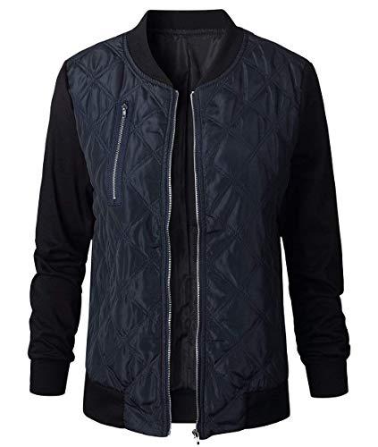 Puro Donna Cappotto Coat Primaverile Di Giacca Con Marca Bolawoo Manica Bomber Autunno Elegante Giaccone Colore Cerniera Lunga Mode Casual Fashion Blu 0wdx7qp
