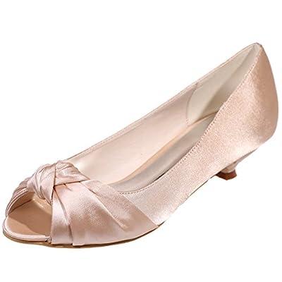 LOSLANDIFEN Women's Peep Toe Satin Pumps Pleated Vamp Low Heel Platform Wedding Shoes