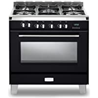 Verona VCLFSGE365E 36 Classic Dual Fuel Range with 4 cu. ft. European Convection Oven 5 Sealed Gas Burners Cast-Iron Grates EZ Clean Porcelain Oven Surface and Storage Compartment in Matte Black