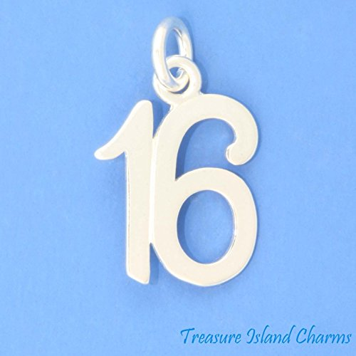 Number 16 16th Birthday Anniversary .925 Sterling Silver Charm Sweet Sixteen Jewelry Making Supply Pendant Bracelet DIY Crafting by Wholesale Charms