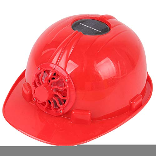 Fan Air Cap - Solar Power Cooling Fan Safety Helmet Outdoor Workplace Protective Cap Hard Hat - Red