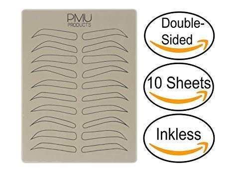 (PMU Cosmopolitan Pack | Microblading Practice Skin Double-Sided | Professional Realistic Hairstroke Tattoo Latex | Special Variety Eyebrow Designs For Cosmetic Tattooing (Black -)