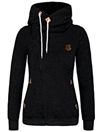 DOKER Women's Personality Spring Autumn Oblique Zipper Hoodie Sweater Coat