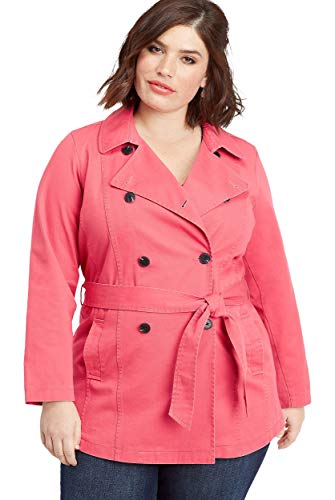 maurices Women's Plus Size Button Down Trench Coat 0 Canyon Bloom