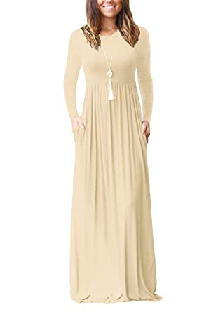 fb2a92ea4b Image Unavailable. Image not available for. Color  Imysty Women s Casual Long  Sleeve Maxi Dress Loose Plain ...