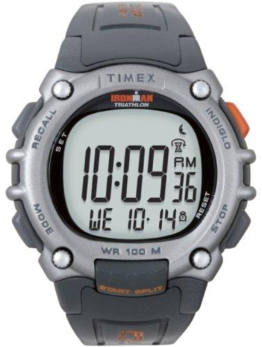 Timex Ironman T5J993 Men's Watch w/ FLIX (Grey/Orange) 100 Lap Flix Sports Watch
