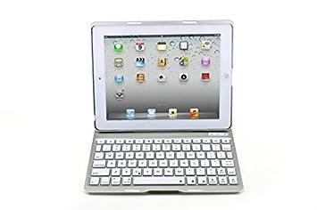 Japace® Plata Alta calidad Aluminio y aleaciones de magnesio caso trasero + ABS teclado inalambrico