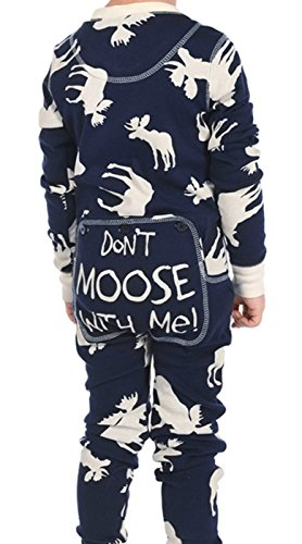 Lazy One LazyOne Kid's Flapjack Onesies - Decorative trapdoor (3T, Classic Moose (Girls Moose)