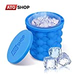 Atgshop Ice Cube Maker - Ice Genie - Silicone Ice Cube Maker - Leakproof Design Super Large Silicone 2 in 1 Ice Bucket Ice Mold - Cube Ice Maker - Portable Ice Cube Maker - Ice Maker Genie