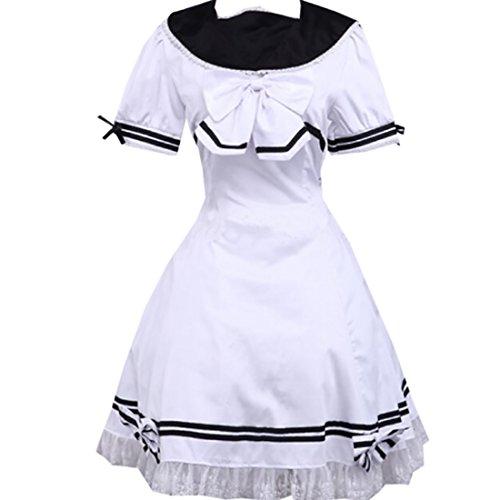 Partiss Damen WeissLace Bogen Schule Lolita Partykleid Weiß QlaPlAB ...