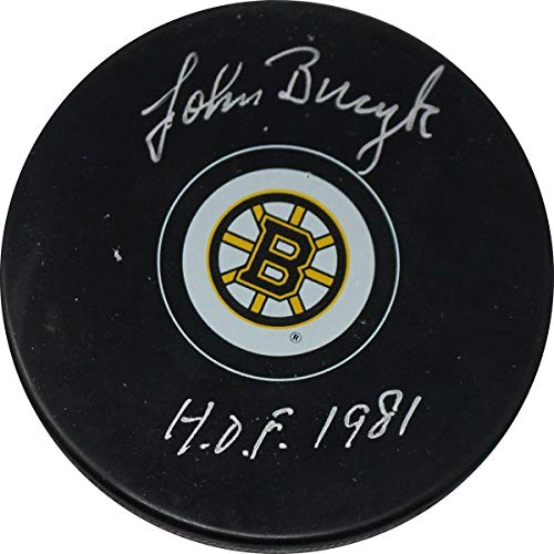 Johnny Bucyk Autographed Bruins Puck w/