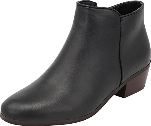 Cambridge-Select-Womens-Cowboy-Western-Stacked-Chunky-Block-Heel-Ankle-Bootie