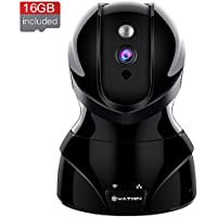Wireless WiFi Security Camera YATWIN Home 720P HD Security Surveillance IP Camera Pet Baby Monitor with Motion Detection, Two-Way Audio, Night Vision Remote Viewing And 16GB Memory Card - Jet Black