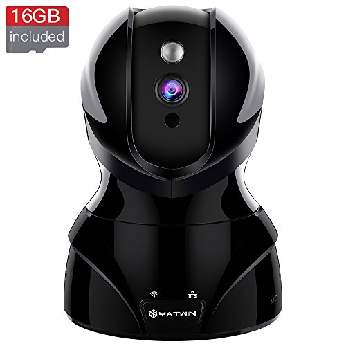 Wireless Security Camera YATWIN HD WiFi Security Surveillance IP Camera Home Pet Baby Monitor with Motion Detection, Two-Way Audio, Night Vision Remote Viewing And 16GB Memory Card - Jet Black