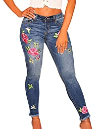 Sidefeel Women Rose Embroidered High Waist Ripped Denim Skinny Jeans