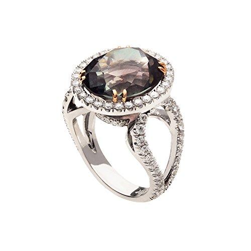 - Precious Stars 18k White Gold 1 1/3ct TDW Diamond Multicolor Tourmaline Ring (G, VS2)