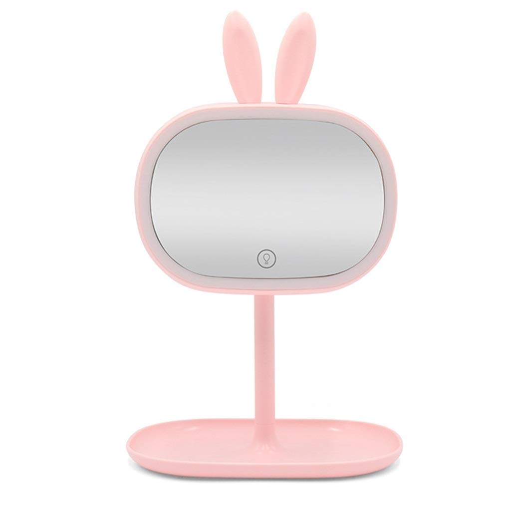 RUIMA Mirror Vanity Mirror with lamp Desktop LED Light Fill Mirror Vanity Mirror Girl Heart Makeup lamp (Color : Pink)