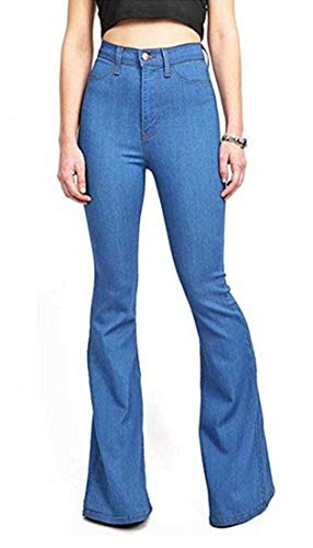 Women's Regular Slim Fit Denim Solid Color High Rise Flared Bootcut Jeans Blue