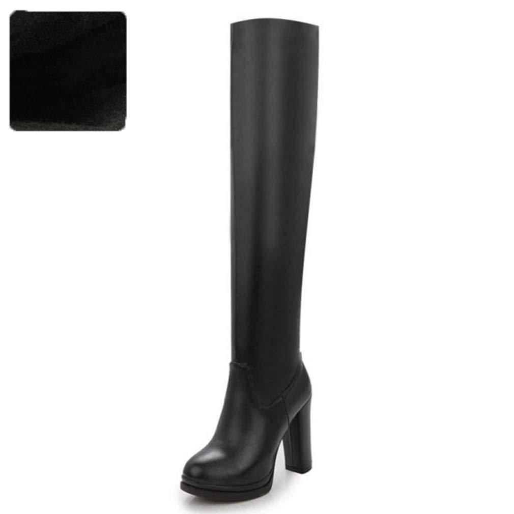 Black Velvet T-JULY Winter Women Over The Knee Boots Fur Plush Zipper High Heels Footwear shoes