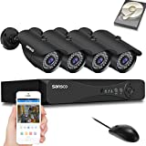 SANSCO Pro CCTV Security Camera System with FHD 1080P DVR, 4 Bullet Cameras (All HD 1080p 2MP), 1TB Internal Hard Drive Disk 24/7 Or Motion Recording - All-in-One Wired Surveillance Cameras Kit