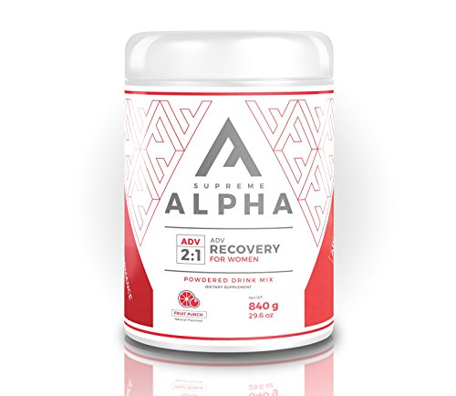 Supreme Alpha Advanced, Post Workout Recovery Supplement for Women, Muscle Builder with Protein Powder and Carbohydrates, BCAAs, Glutamine, Vitamin D, Zero Sugar, Keto Friendly, 15 Servings