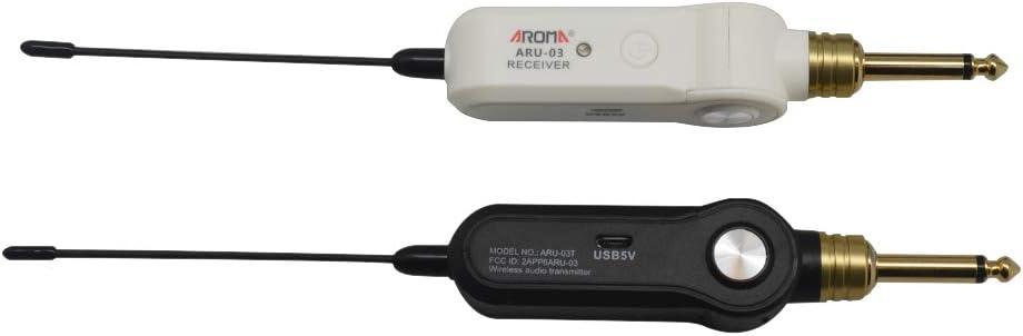 Lepeuxi AROMA ARU-03 UHF Sistema de transmisión de audio inalámbrico, emisor receptor, batería de litio recargable incorporada máx. Rango de transmisión de 20 m para guitarra eléctrica.