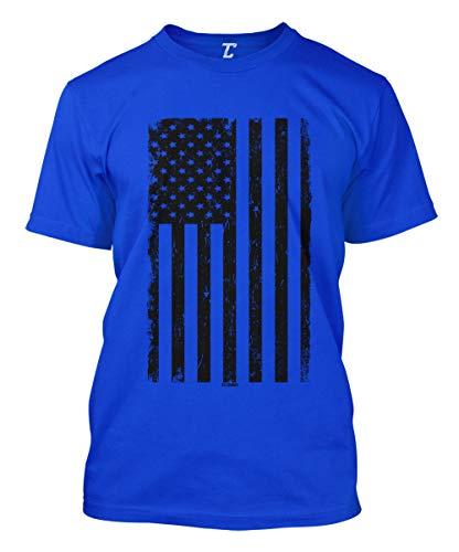 Distressed Black USA Flag - United States Men's T-Shirt (Royal, ()