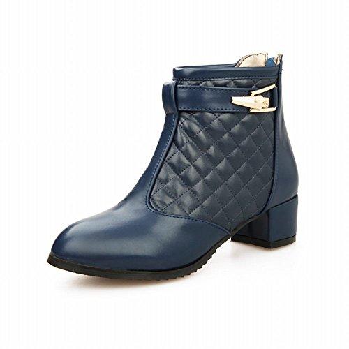Carolbar Womens Zipper Buckle Fashion Comfort Mid Heel Short Boots Blu