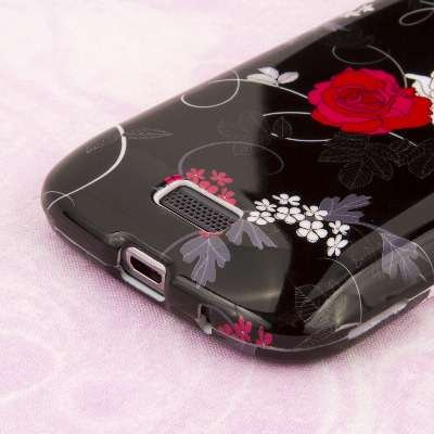 EMPIRE Volle Deckung Two Buds Flower Schwarz Case Tasche Hülle for Samsung ATIV Odyssey I930