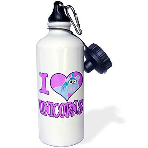 3dRose wb_102157_1 I Heart Love Unicorns Cartoon Sports Water Bottle, 21 oz, White (Unicorn Water Bottle compare prices)