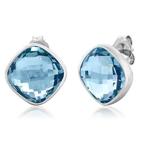 Gem Stone King 12.00 Ct Sterling Silver Blue Topaz Cushion Checkerboard Gemstone Birthstone Stud Earrings