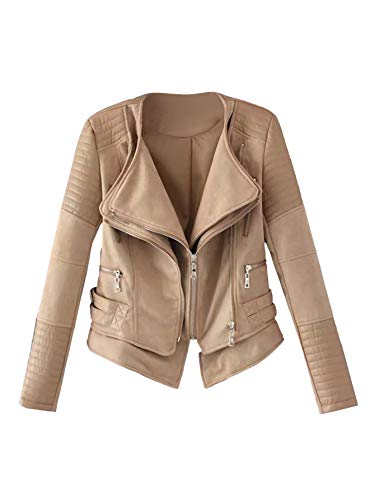 Milumia Women's Fashion Faux Leather Belted Zipper Detail Lightweight PU Biker Jacket Khaki S