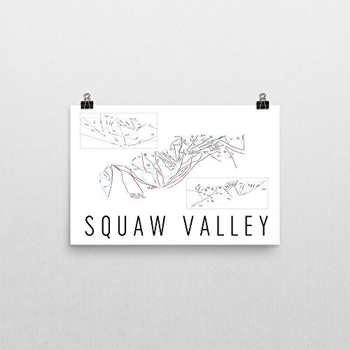 Squaw Valley Poster, Squaw Valley Ski Resort Poster, Squaw Valley Art Print, Squaw Valley Trail Map, Squaw Valley Trail Map Art, Squaw Valley Wall Art Poster- Size 12