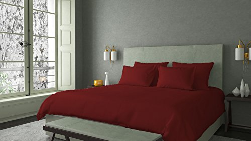 """LINEN SHOPPE 600 Thread Count PIMA Cotton Classic Bed Sheet Super Soft Durable Luxury Italian Finish Bedding Collection Sheet Set With 21"""" Deep Pocket (Twin,Burgundy) (Collection Pima Percale)"""