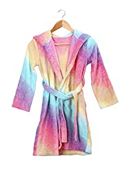 Slumber Party Kids Girls Rainbow Fleece Robe Housecoat Bathrobe for Tween Girls 6-13yrs+