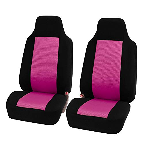 FH Group FB102PINK102-AVC FB102PINK102 Classic Cloth Pair Set Seat Covers Pink/Black-Fit Most Car, Truck, SUV, or Van