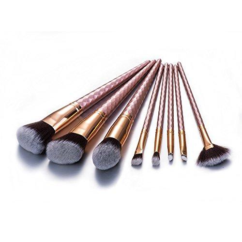 Beauty Kate 8PCS Professional Makeup Brushes Set Cosmetic Blusher Eye Shadow Fan Brush Set Kit (Rose (Blusher Set)
