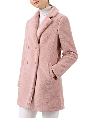 Allegra K Women's Double Breasted Notched Lapel Plush Coat XL Pink (Notched Fur Coat Collar)