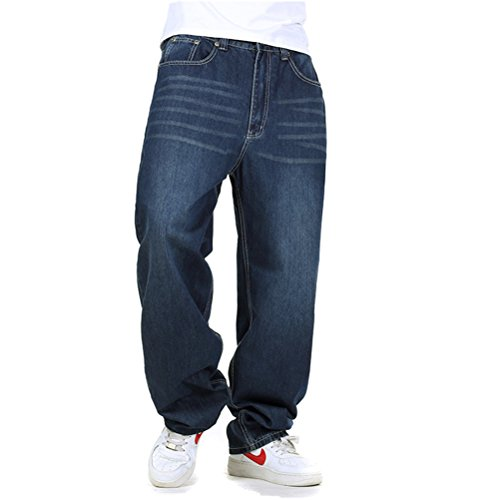WoowTry Men's Multi-Style Nightclub Hip Hop Baggy Denim Jeans Blue2 38 (Best Type Of Jeans For Men)
