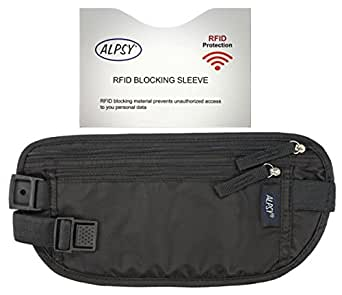 Alpsy Money Belt Pouch with RFID Sleeve, Secure Travel Wallet Waist Pack Black-2