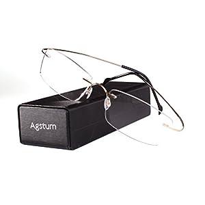 Agstum Pure Titanium Rimless Frame Prescription Hingeless Eyeglasses Rx (Gold, 55)