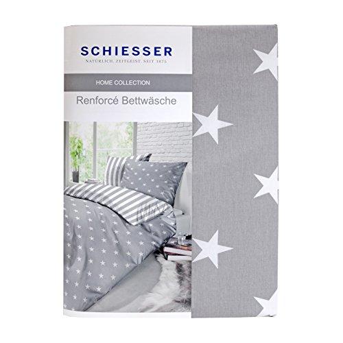 Schiesser Renforcé Bettwäsche Sterne Silber 155 X 220 Cm 80 X 80