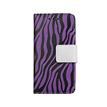 Reiko 3 in 1 Wallet Case with Zebra Pattern with kickstand for iPhone 6 4.7inch, iPhone 6S 4.7inch - Retail Packaging - Purple