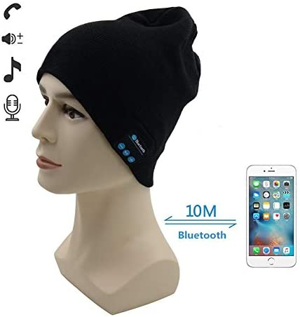 TAKSON Beanie with Bluetooth Wireless hat with Headphone Mic Knit Music Hat Unisex for Running Walking Gifts Black