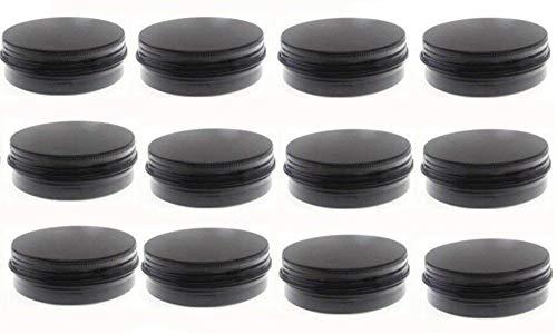 JKLcom 2 oz.Tins Black Aluminum Metal Tin Round Screw Top Lid Containers Jars Metal Storage Tin Jars Aluminum Tin Cans Travel Storage Tins,for Lip Balm DIY Cosmetics Salves,2 oz./2 Ounce/60 - Black Tin