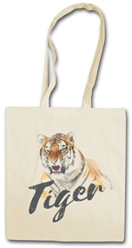 TIGER Hipster Shopping Cotton Bag Borse riutilizzabili per la spesa – tigre Tigers Fur Tattoo Asia White Animal Wildlife Africa Welfare Cat Raubkatze