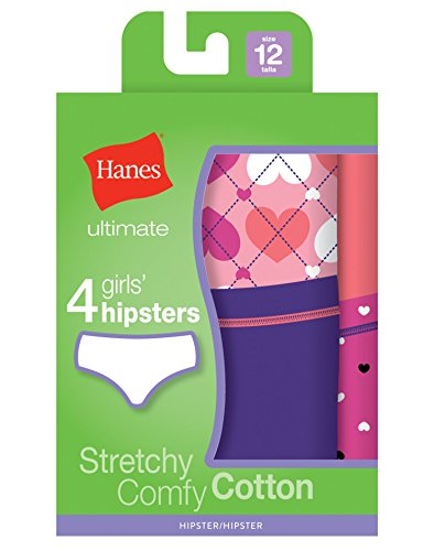 Hanes Ultimate Girls' 4-Pack Cotton Stretch Hipster Panties, Assorted, 16